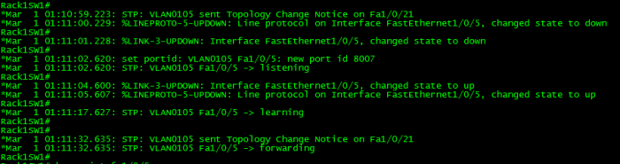 Spanning-Tree TCN with  no Portfast